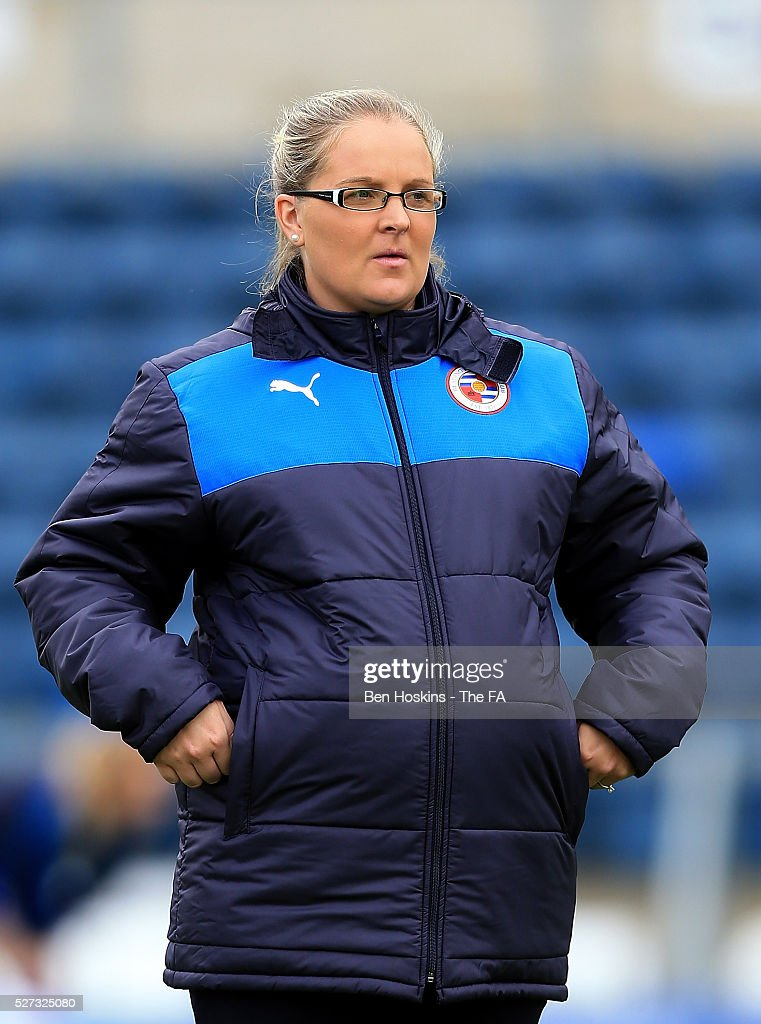 Reading manager Kelly Chambers looks on ahead of the WSL 1 match between Reading FC Women and Sunderland AFC Ladies on May 2, 2016 in High Wycombe, England.