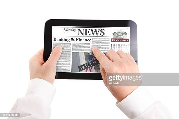 Reading news on tablet