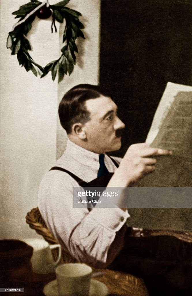 HITLER reading newspaper in Landsberg Prison1924 Ruler of the Third Reich Early in his career as politician