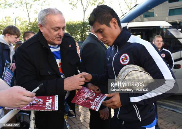 Reading Paolo Hurtado signs autographs for the fans ahead of the game