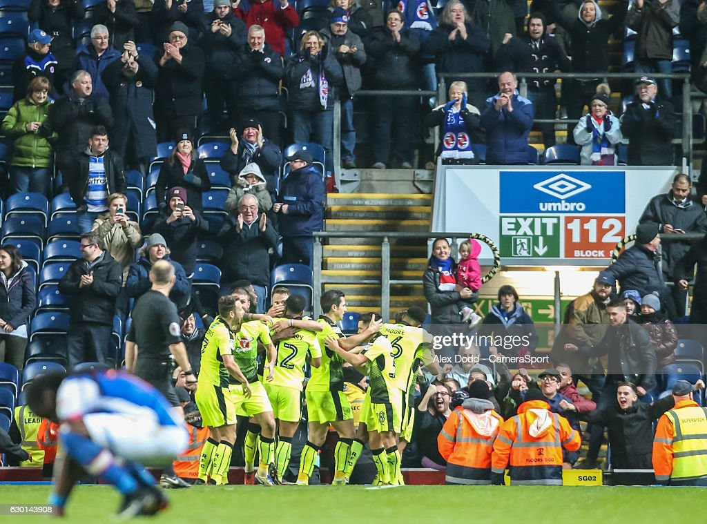 Reading players celebrate George Evans' late winner during the Sky Bet Championship match between Blackburn Rovers and Reading at Ewood Park on December 17, 2016 in Blackburn, England.