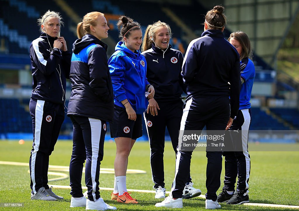 Reading players share a joke ahead of the WSL 1 match between Reading FC Women and Sunderland AFC Ladies on May 2, 2016 in High Wycombe, England.