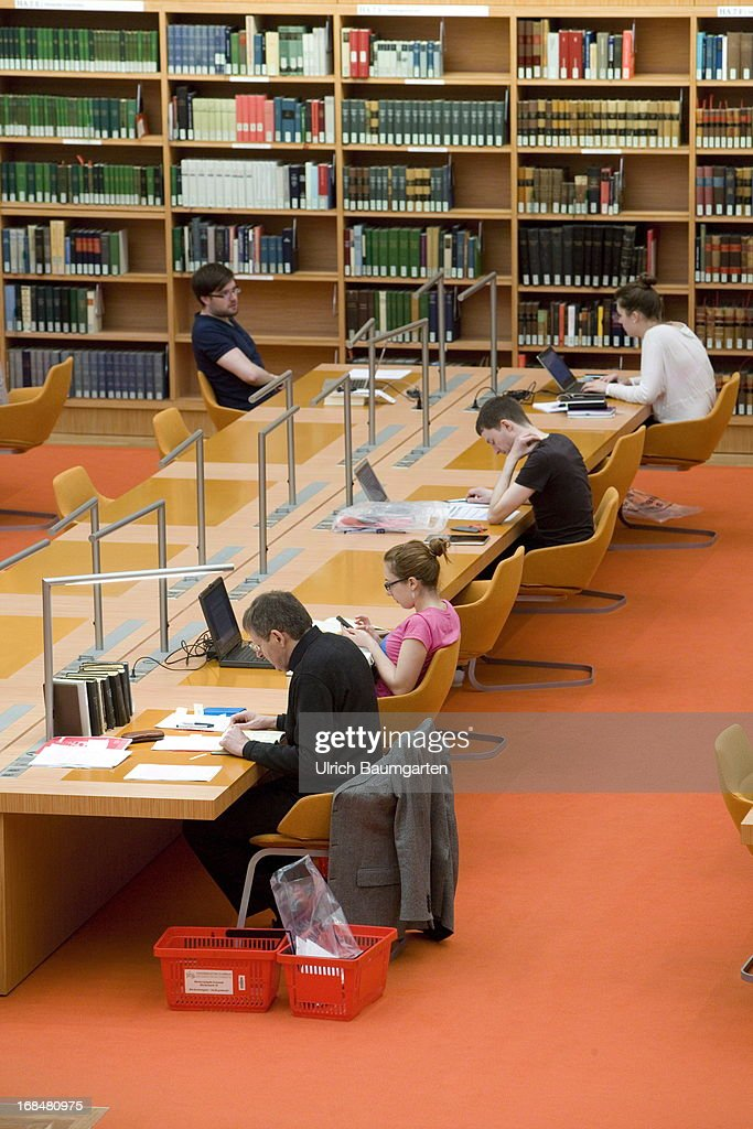 Reading room in the state library Berlin on April 26, 2013 in Berlin, Germany.