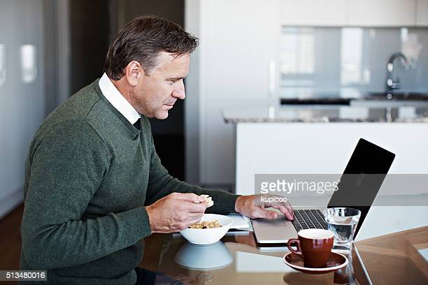 Reading some emails over breakfast