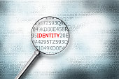 reading the word identity on computer screen with a magnifying glass internet security