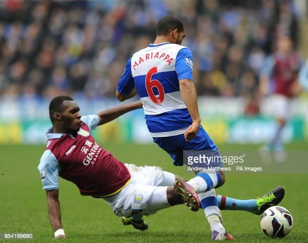 Reading's Adrian Mariappa and Aston Villa's Christian Benteke battle for the ball