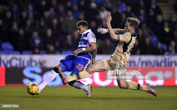 Reading's Daniel Williams gets a shot on goal past Leeds United's Charlie Taylor