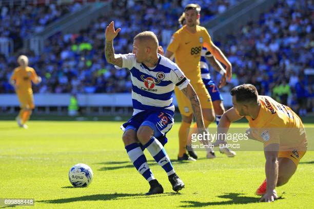 Reading's Deniss Rakels in action with Preston North End's Bailey Wright