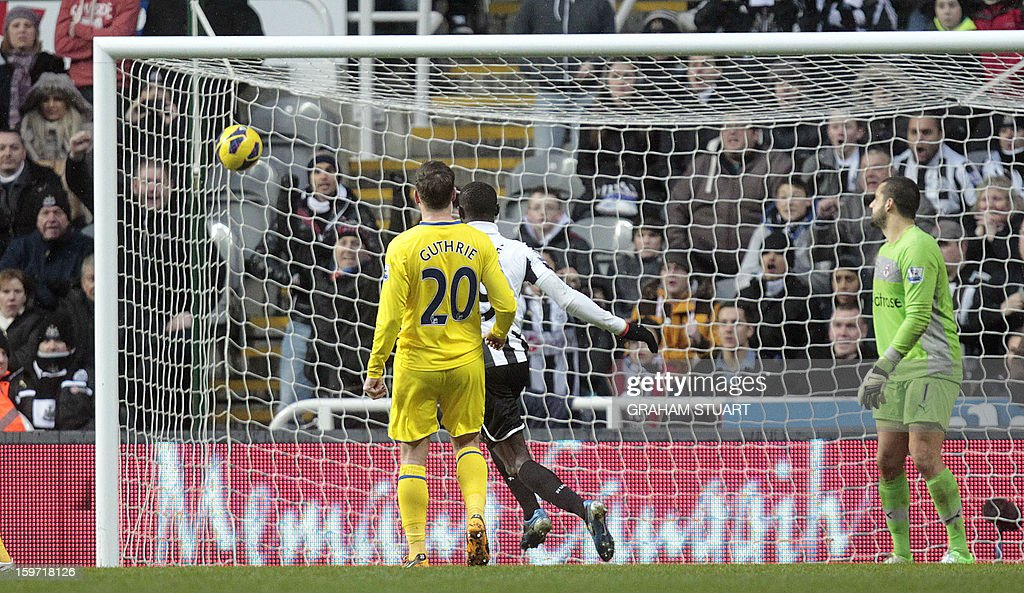 "Reading's English midfielder Danny Guthrie (L) and Reading's Australian goalkeeper Adam Federici (R) watch as the ball goes into the net from Newcastle United's French midfielder Yohan Cabaye (unpictured) for Newcastle's first goal during the English Premier League football match between Newcastle United and Reading at St James' Park in Newcastle Upon Tyne, northeast England, on January 19, 2013. AFP PHOTO / GRAHAM STUART - RESTRICTED TO EDITORIAL USE. No use with unauthorized audio, video, data, fixture lists, club/league logos or ""live"" services. Online in-match use limited to 45 images, no video emulation. No use in betting, games or single club/league/player publications."