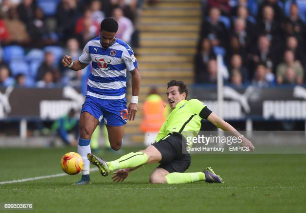 Reading's Garath McCleary Brighton and Hove Albion's Lewis Dunk