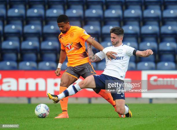 Reading's Garath McCleary under pressure from Preston North End's Sean Maguire during the Sky Bet Championship match between Preston North End and...