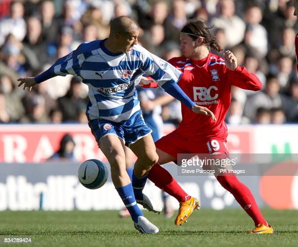 Reading's James Harper and Birmingham City's Mauro Zarate battle for the ball