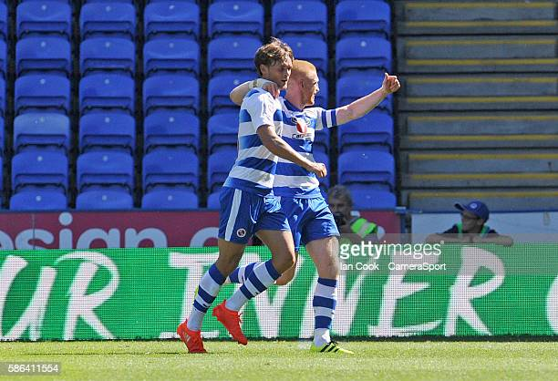 READING ENGLAND Reading's John Swift celebrates scoring his sides first goal with team mate Paul McShane during the EFL Sky Bet Championship match...