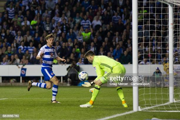 Reading's John Swift reacts after seeing his shot saved from close range by Fulham's Marcus Bettinelli during the Sky Bet Championship PlayOff Semi...