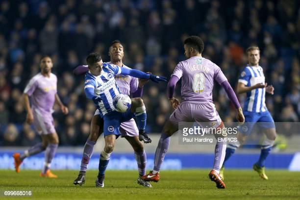 Reading's Jordan Obita and Brighton Hove Albion's Anthony Knockaert battle for ther ball