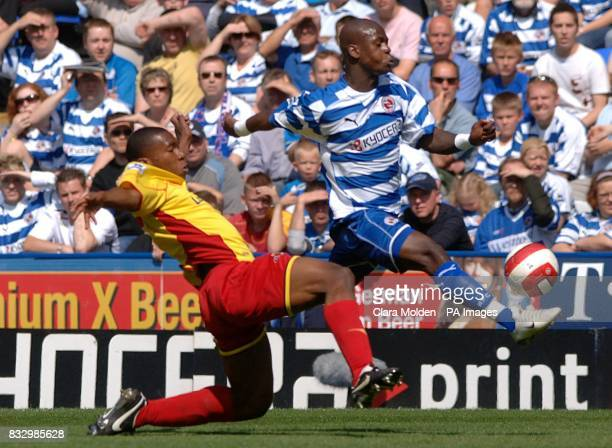 Reading's Leroy Lita skips away from the challenge of Watford's Cedric Avinel