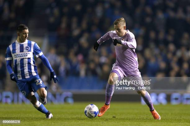Reading's Matej Vydra and Brighton Hove Albion's Anthony Knockaert in action