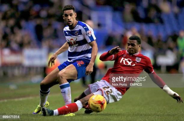 Reading's Nick Blackman and Bristol City's Jonathan Kodjia battle for the ball