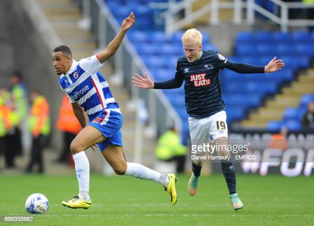 Reading's Nick Blackman Derby County's Will Hughes