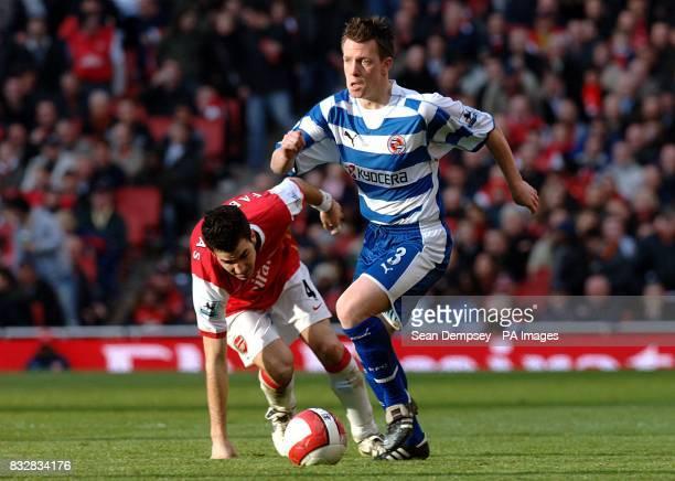 Reading's Nicky Shorey leaves behind Arsenal's Francesc Fabregas