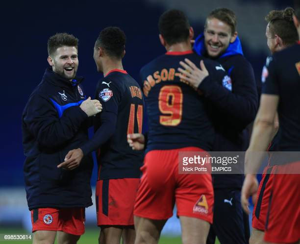 Reading's Oliver Norwood celebrates after his goal helps along with Reading's Hal RobsonKanu give a 21 win over Cardiff City