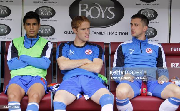 Reading's Paolo Hurtado Alex Fernandez and Andrew Taylor on the bench