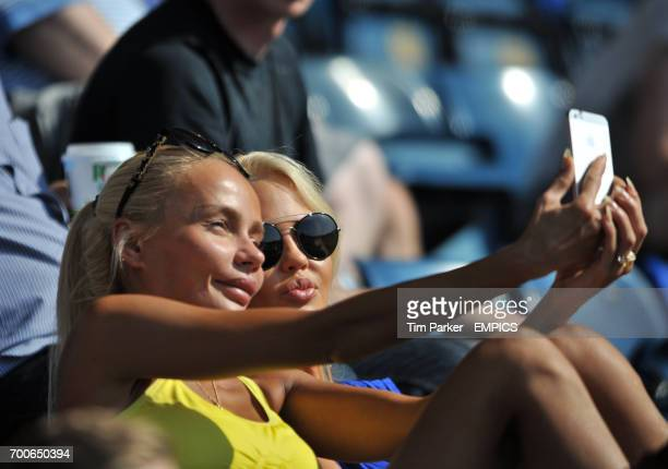 Reading's Pavel Pogrebnyak wife Masha takes a Selfie with her friend during the game