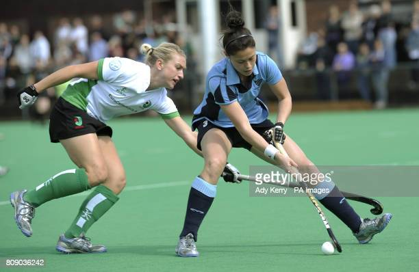 Reading's Sam Quek gets away from Canterbury's Susie Rowe during the England Hockey League Premier Division playoff match at Polo Farm Canterbury Kent