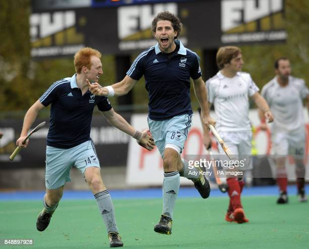 Reading's Simon Mantell celebrates scoring the eqauliser during the EuroHockey League Round 12 game at East Grinstead HC West Sussex