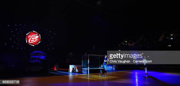 Reading's Tom Carson left and East Grinstead's Simon Faulkner lead their sides out ahead of the Maxifuel Super Sixes Mens SemiFinal match between...