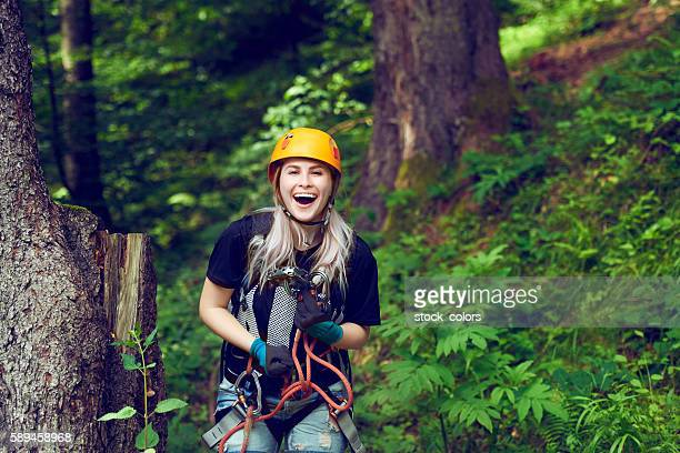 ready for adventure on tyrolean traverse