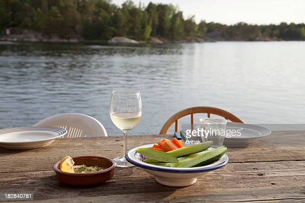 Ready for dinner by the water. Summers evening. Stockholm Archipelago.