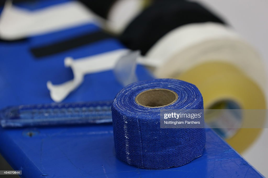 Ready for running repairs at the Champions Hockey League group stage game between Nottingham Panthers and Lulea Hockeyat at the National Ice Centre on August 24, 2014 in Nottingham, England.