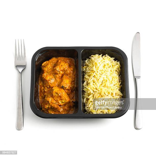 Ready meal curry and rice
