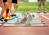 Ready! Starting blocks on running track