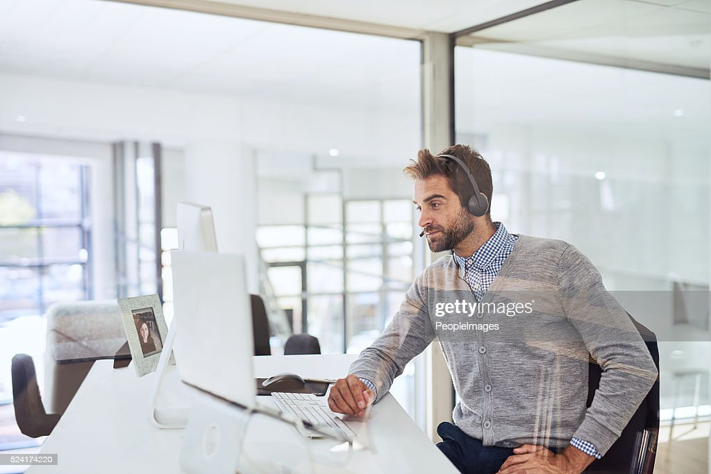 Ready to take the next call : Stock Photo