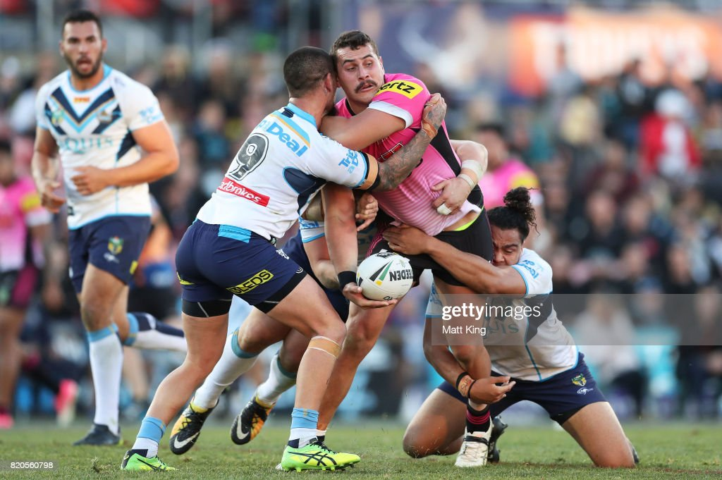 Reagan Campbell-Gillard of the Panthers is tackled during the round 20 NRL match between the Penrith Panthers and the Gold Coast Titans at Pepper Stadium on July 22, 2017 in Sydney, Australia.