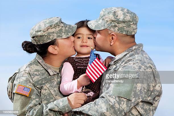 Ejército norteamericano al aire libre de la familia Real