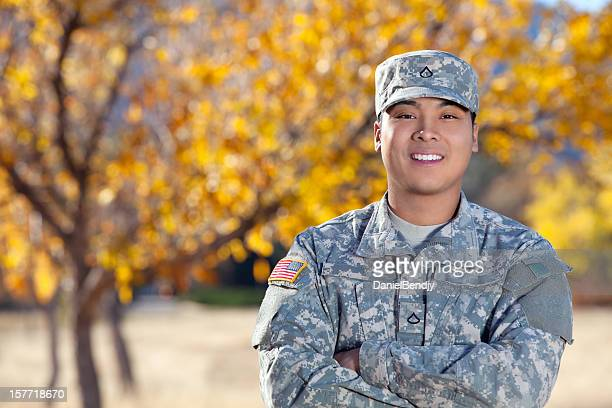 Real American Soldier Outdoor Against Autumn Background