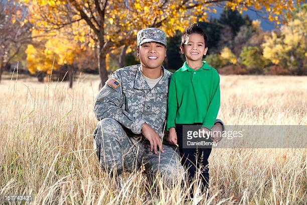 Real American Soldier & Son Outdoor Against Autumn Background