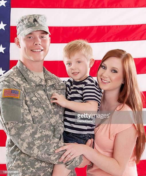 Real American Soldier con esposa & Son