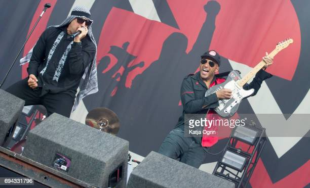 Real and Tom Morello of Prophets of Rage performing live on Day 1 of Download Festival at Donington Park on June 9 2017 in Castle Donington UK