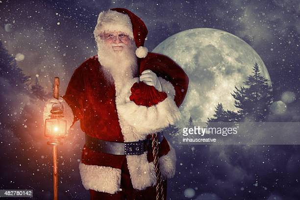 Real authentic Christmas photo of Santa Claus in the woods
