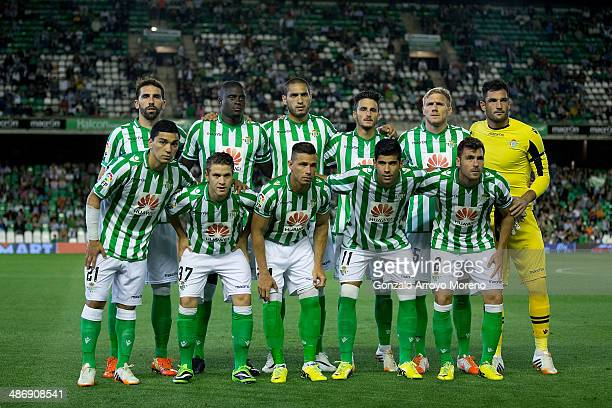 Real Betis Balompie line up prior to start the La Liga match between Real Betis Balompie and Real Sociedad de Futbol at Estadio Benito Villamarin on...