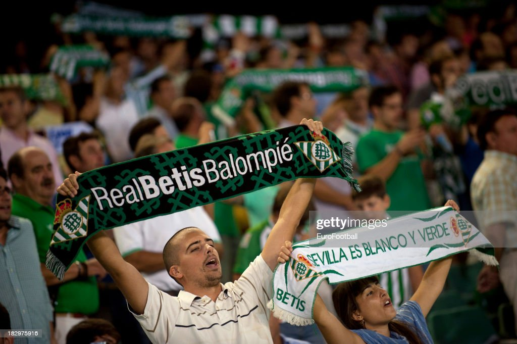 Real Betis Balompie supporters during the UEFA Europa League group stage match between Real Betis Balompie and Olympique Lyonnais held on September...