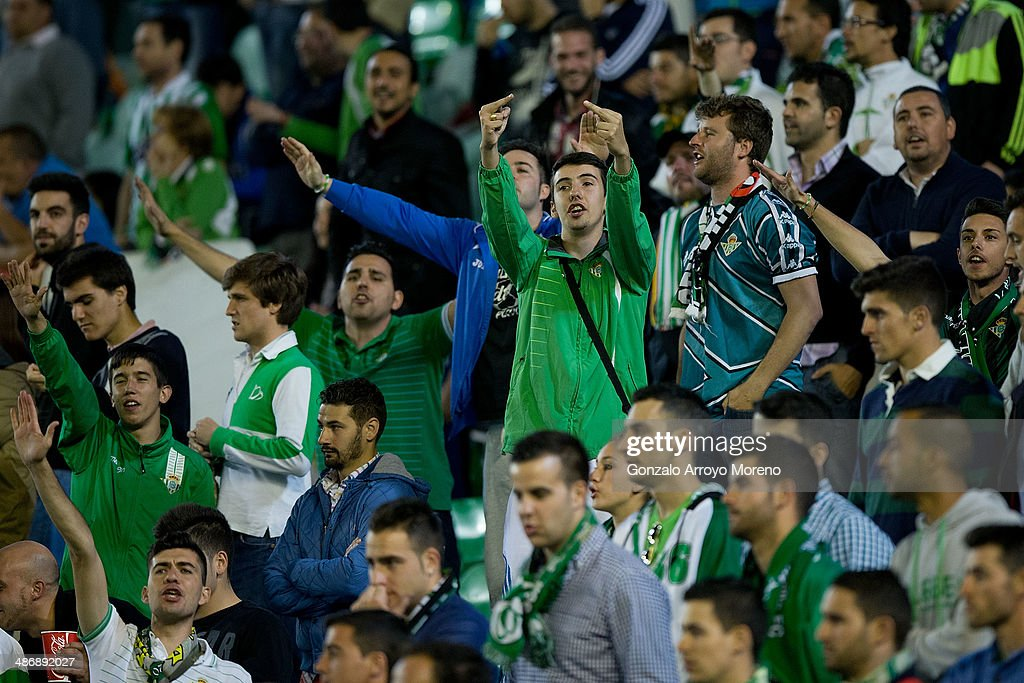 Real Betis Balompie ultra fans protests to the team management during the La Liga match between Real Betis Balompie and Real Sociedad de Futbol at...
