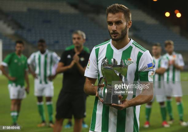 Real Betis defender German Pezzella with runner up trophy at the end of the Algarve Cup match between SL Benfica and Real Betis at Estadio Algarve on...