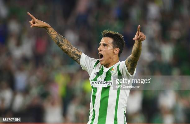 Real Betis' Spanish forward Cristian Tello celebrates after scoring a goal during the Spanish league football match Real Betis FC vs Valencia FC at...