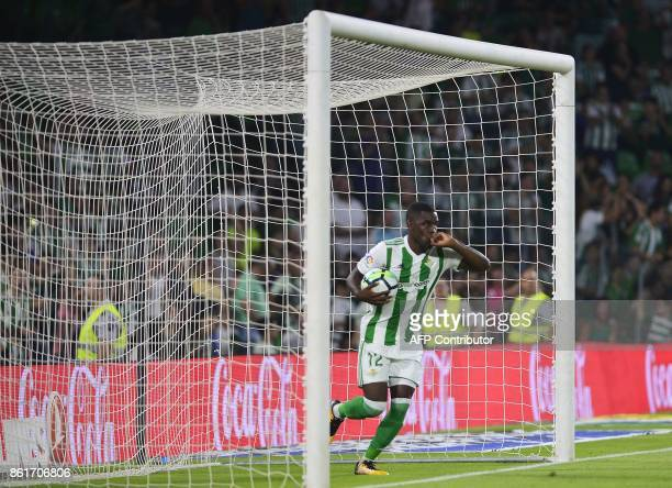Real Betis's Costa Rican midfielder Joel Nathaniel Campbell celebrates after scoring a goal during the Spanish league football match Real Betis FC vs...