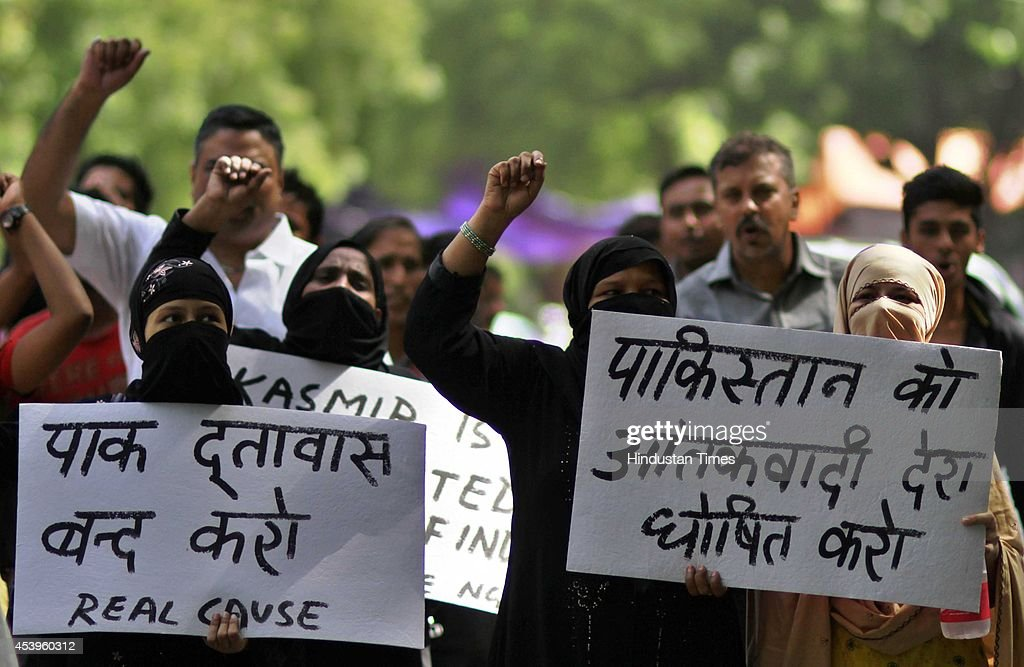 Real Cause (NGO) members protest against terrorist activities of Pakistan in India, at Jantar Mantar, on August 22, 2014 in New Delhi, India. Pakistan violating the ceasefire for the 14th time in the past 12 days, targeted two border out posts and border hamlets injuring a villager and damaging some houses along the International Border in Jammu sector.